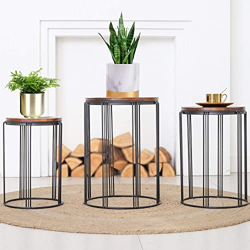 HFHOME Rustic Patio Side End Table Outdoor Set of 3