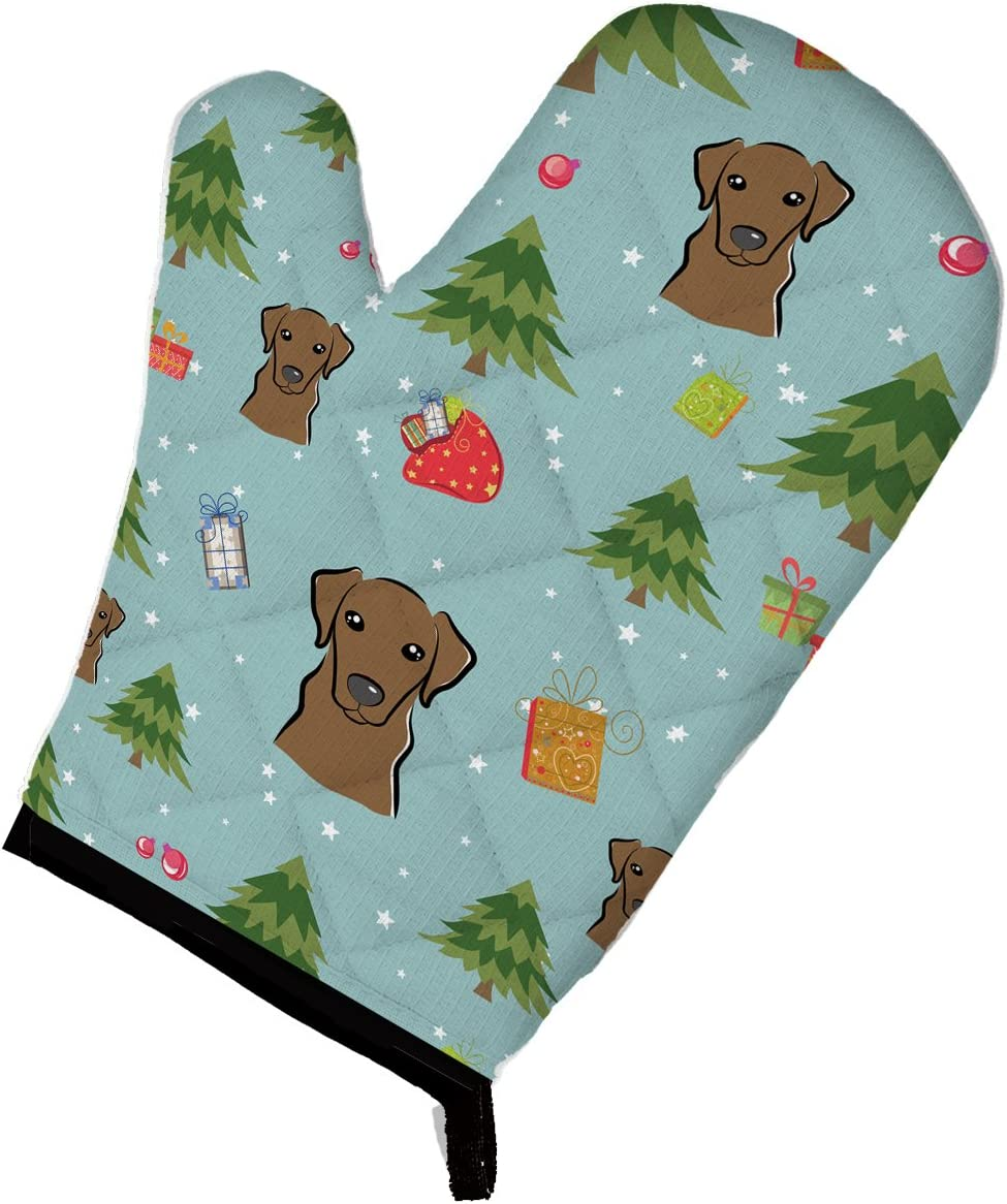 Caroline's Treasures BB5023OVMT Christmas Chocolate Labrador Oven Mitt, Large, multicolor