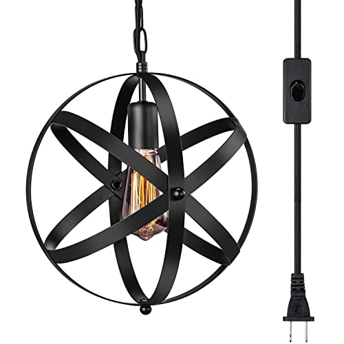 Industrial Plug in Pendant Light E26 E27 Industrial Hanging Light Metal Globe Vintage Pendant Light Fixture with 14.8Ft Hanging Cord and ON Off Switch 1 Pack
