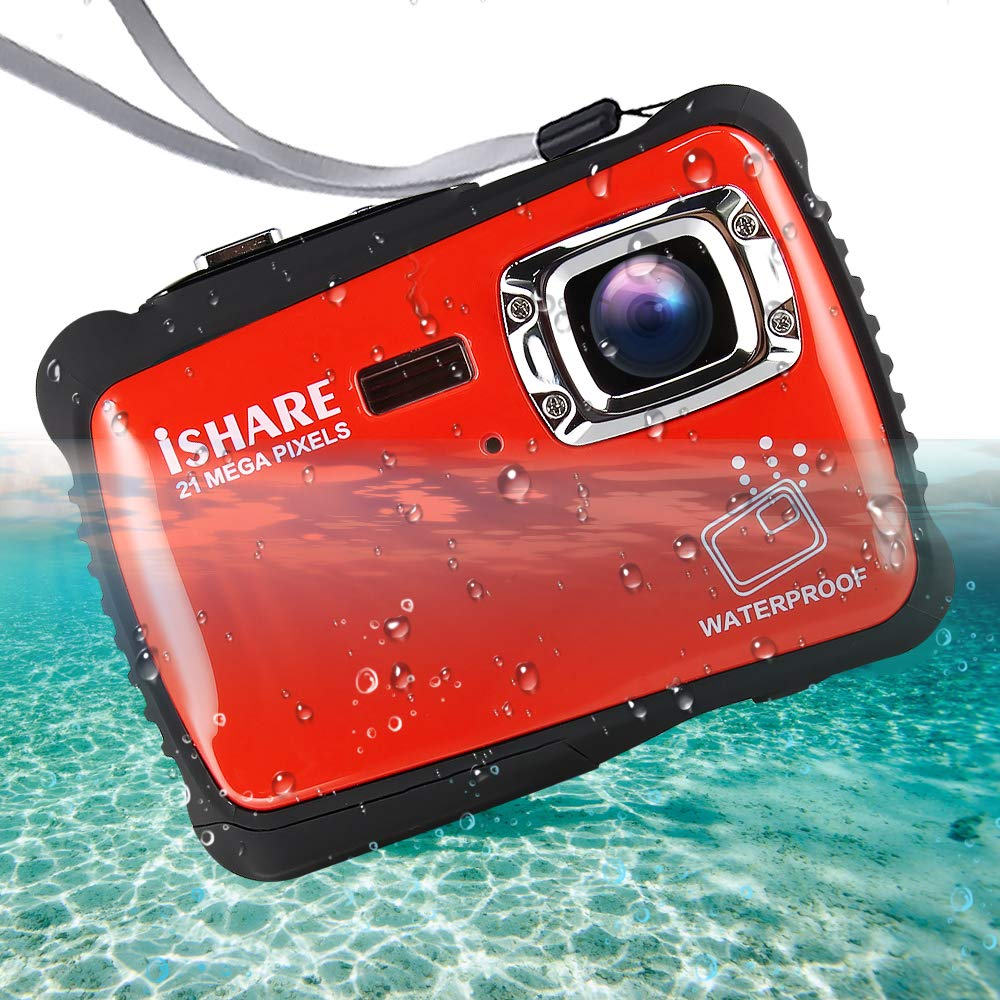 Waterproof Digital Camera for Kids, ishare Update Underwater Camera with 2.0'' LCD, 8X Digital Zoom, 1080p Flash and Mic for Girls/Boys(RED)