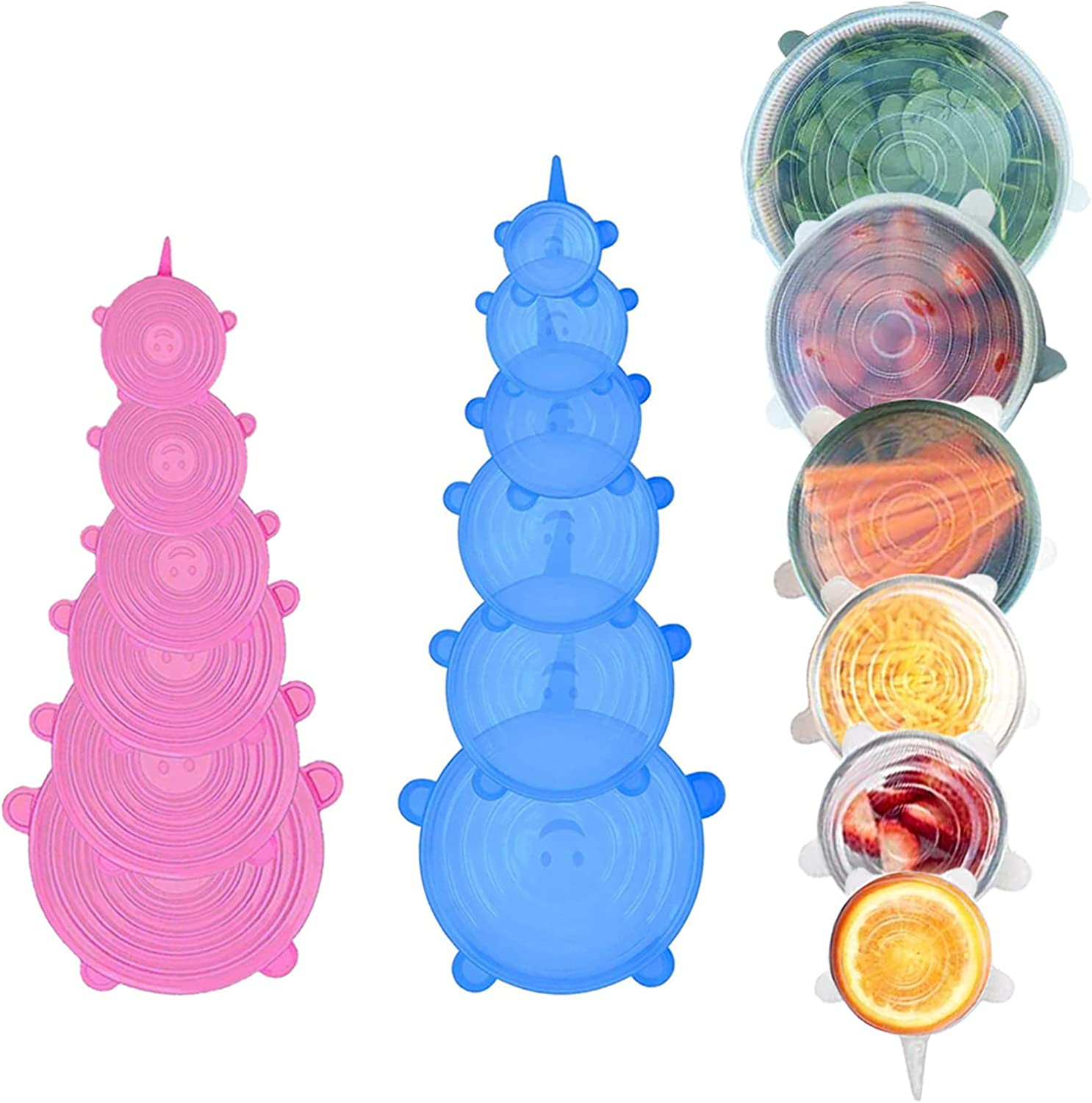 Blooding Silicone Stretch Lids, Reusable Silicone Lids 18 Pack Sustainable Bowl Covers, 6 Sizes Stretch and Seal Lids to Meet Most Containers for Freezer & Microwave