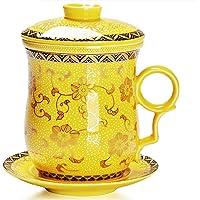 Moyishi Chinese Teaware White Porcelain Bone Tea Cups Tea Mug (With Lid) Golden Yellow Calendula Flower