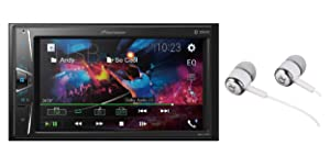 "Pioneer 6.2"" Double DIN VGA Touchscreen WebLink, Bluetooth USB MP3 Aux Input, In-Dash Multi-Color Illumination, Android Smartphone Compatibility Digital Media Receiver/Free ALPHASONIK Earbuds"