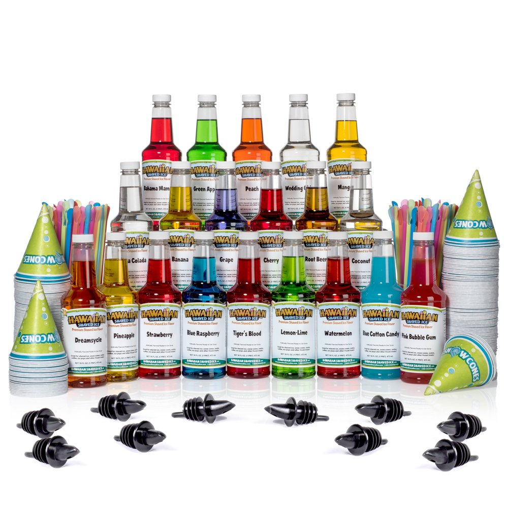 Hawaiian Shaved Ice 20 Flavor Fun Pack of Snow Cone Syrup, 20 pints | Kit Features 20 Snow Cone Syrup Flavors (16 oz. Each) & 20 black bottle pourers, 200 cups, and 200 spoon straws by Hawaiian Shaved Ice (Image #1)