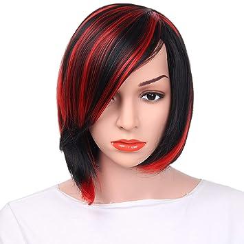 Perücke Damen Bobo Kopf Kurze Glatte Haare Perücke Schräge Pony Färben Rot Lila Chemische Faser Perücke Halloween Cosplay Head Set Red