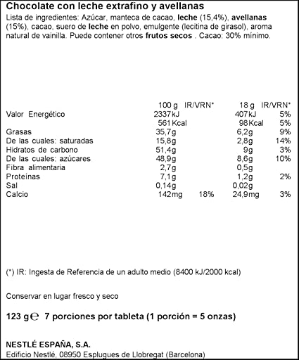 NESTLÉ EXTRAFINO Chocolate con Leche Avellanas - Tableta de Chocolate 123g: Amazon.es: Amazon Pantry