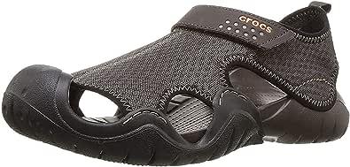 Crocs Swiftwater Sandal Men, Zapatos de Agua para Hombre, Negro (Negro/Charcoal), 41/42 EU