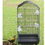 Anaelle Pandamoto Cage d'oiseaux en Fer & Plastique avec 1 Porte Grande, Taille: 47.5 x 36 x 93cm, Poids: 6kg (Noir)