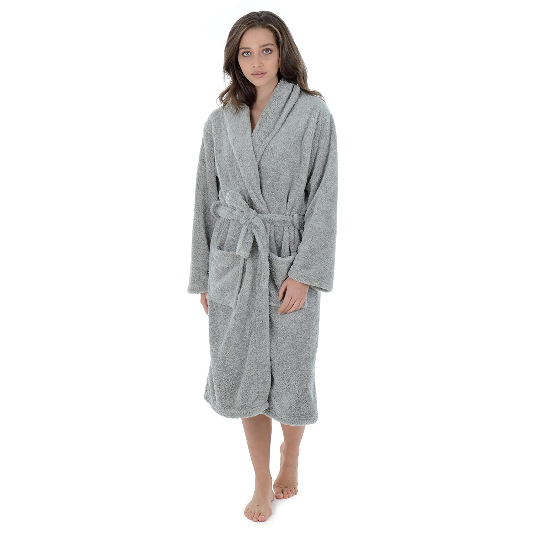 Autumn Faith Luxurious Womens Bathrobe - Soft Fluffy Warm Marled Grey Fleece  Luxury Dressing Gown Knee Length Ladies House Coat Wrap Nightwear Available  in ... 7f32f2ebb