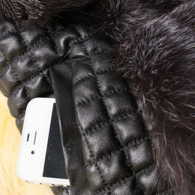 BOLAWOO Canottiera di Pelliccia Donna Autunno Invernali Cucitura Sleeveless Mode di Marca Pelliccia Sintetica Casual Eleganti Giubbino Vita Alta Caldo Giacca in Similpelle Cappotto Nero