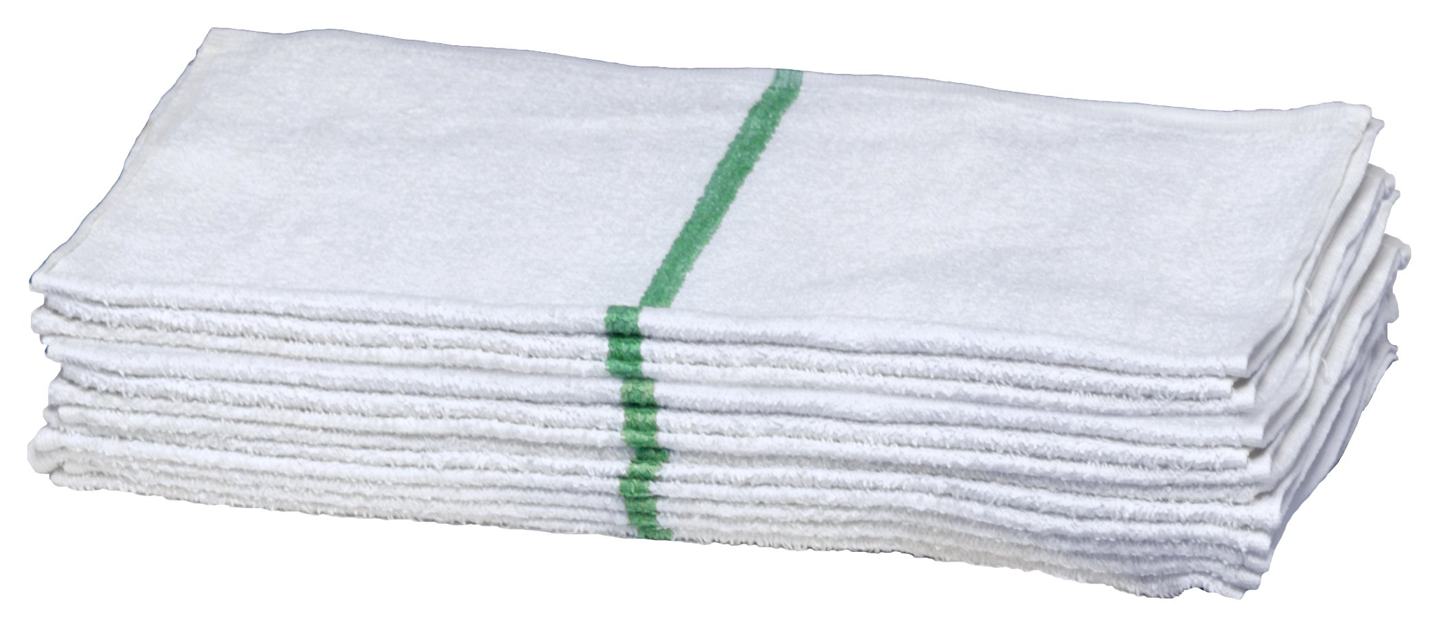 Pro-Clean Basics A51764 Striped Bar Towel, 16'' x 19'', Green (Pack of 300)