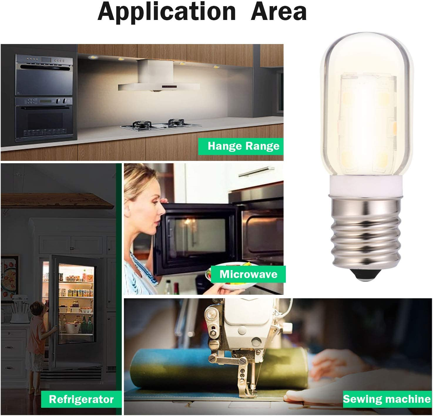 LED Microwave Appliance Light Bulb for Refrigerator Range Hood Over Stove Equivalent 40W Incandescent Bulb E17 Intermediate Screw Base 120V 3W 360lm dimmable Daylight 5000K Pack of 4