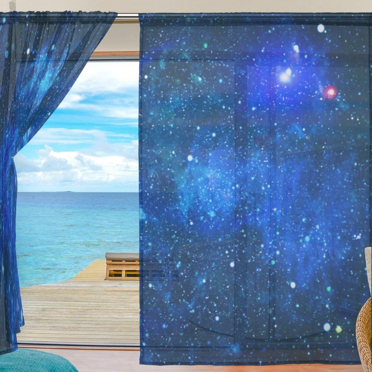 SEULIFE Window Sheer Curtain Universe Galaxy Nebula Deep Space Voile Curtain Drapes for Door Kitchen Living Room Bedroom 55x78 inches 2 Panels