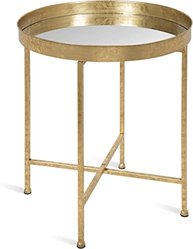 Kate and Laurel Celia Metal Foldable Round Accent Table
