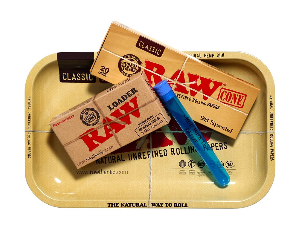 RAW 98 Special Pre Rolled Cones Supreme Bundle Includes: RAW Rolling Tray, RAW 98 Special Pre Rolled Cones 20 Pack, RAW Cone Loader, and Roll With Us Depot Doobtube by Roll With Us Depot