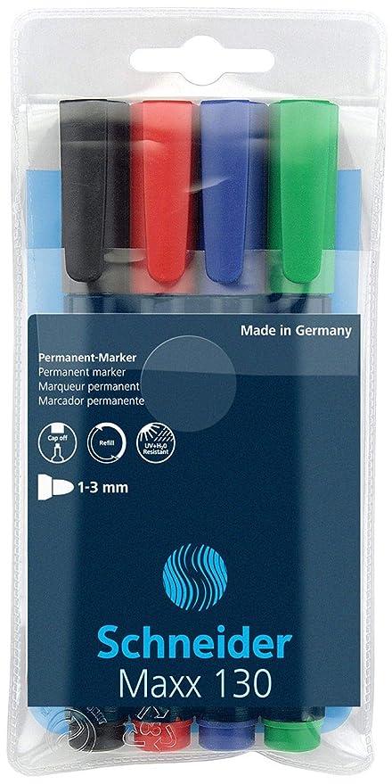 Schneider Maxx 130 Marcador permanente, rellenable, 1 – 3 mm, colores surtidos, estuche de 4