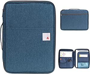 BTSKY New Universal A4 Document Bags Portfolio Organizer- Waterproof Travel Gear Organizer Zipper Case/Document File Bag for Ipads, Notebooks, Pens, Document Navy Blue