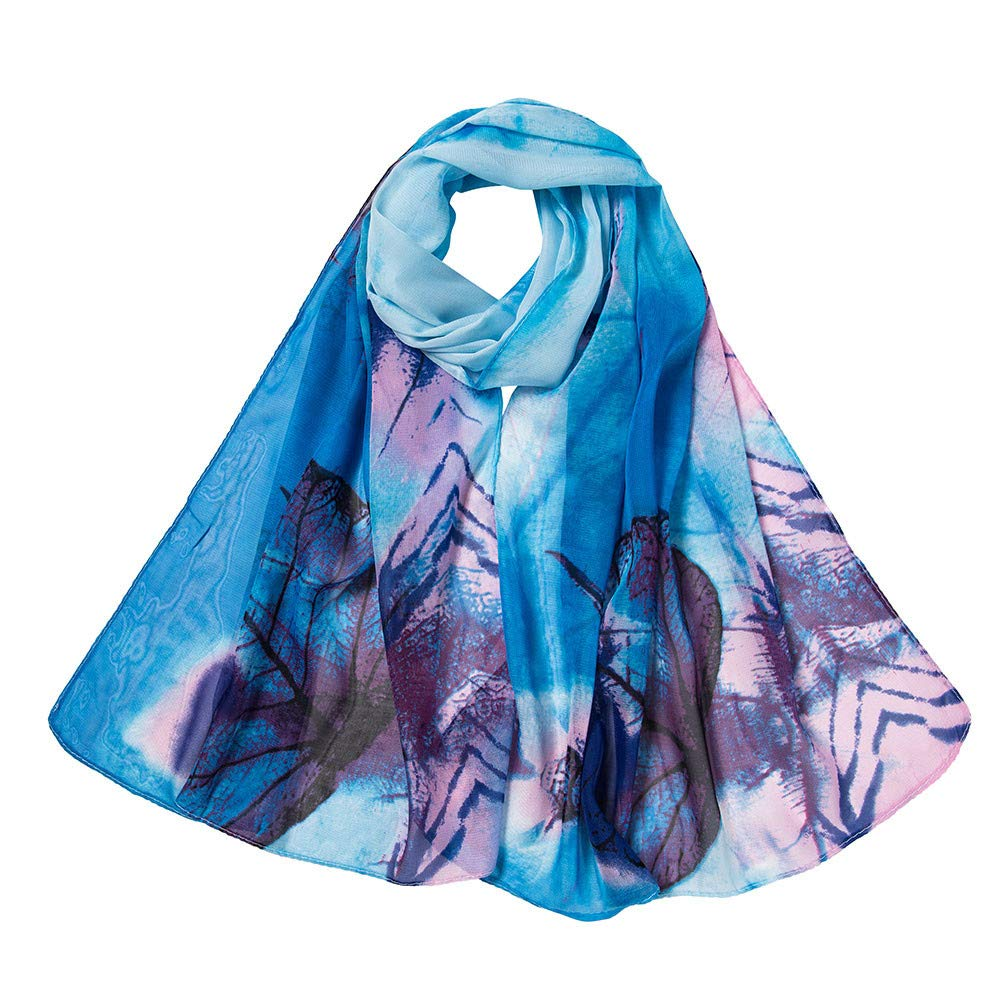 Promisen Leaves Chiffon Scarf,Printed Shawl Scarf for Casual,Travel,Ladeis,Girls (Sky Blue)