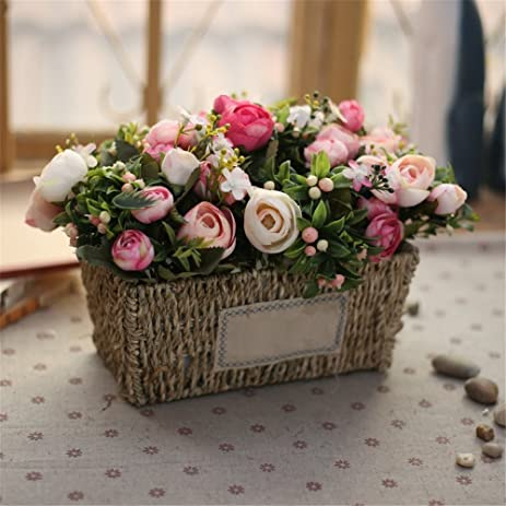 Rectangular Grass Box Floral Arrangements Emulation Flower Kit  Country Style Home Ornaments Living Room Decorated