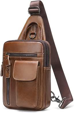 BAIGIO Sling Bag, Bolso Hombro de Pecho Bandolera Cuero Vintage Grande Shoppers Mochila Cruzada de Viaje Trabajo Casual Crossbody para Hombres