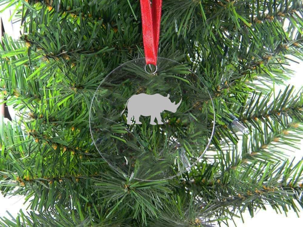 Hanging Christmas Ornaments Silhouette.Amazon Com Personalized Custom Rhino Silhouette Clear