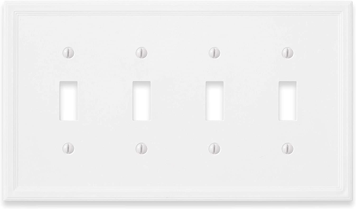 Quad Toggle - White Light Switch Cover Decorative Outlet Cover 4 Gang Wall Plate
