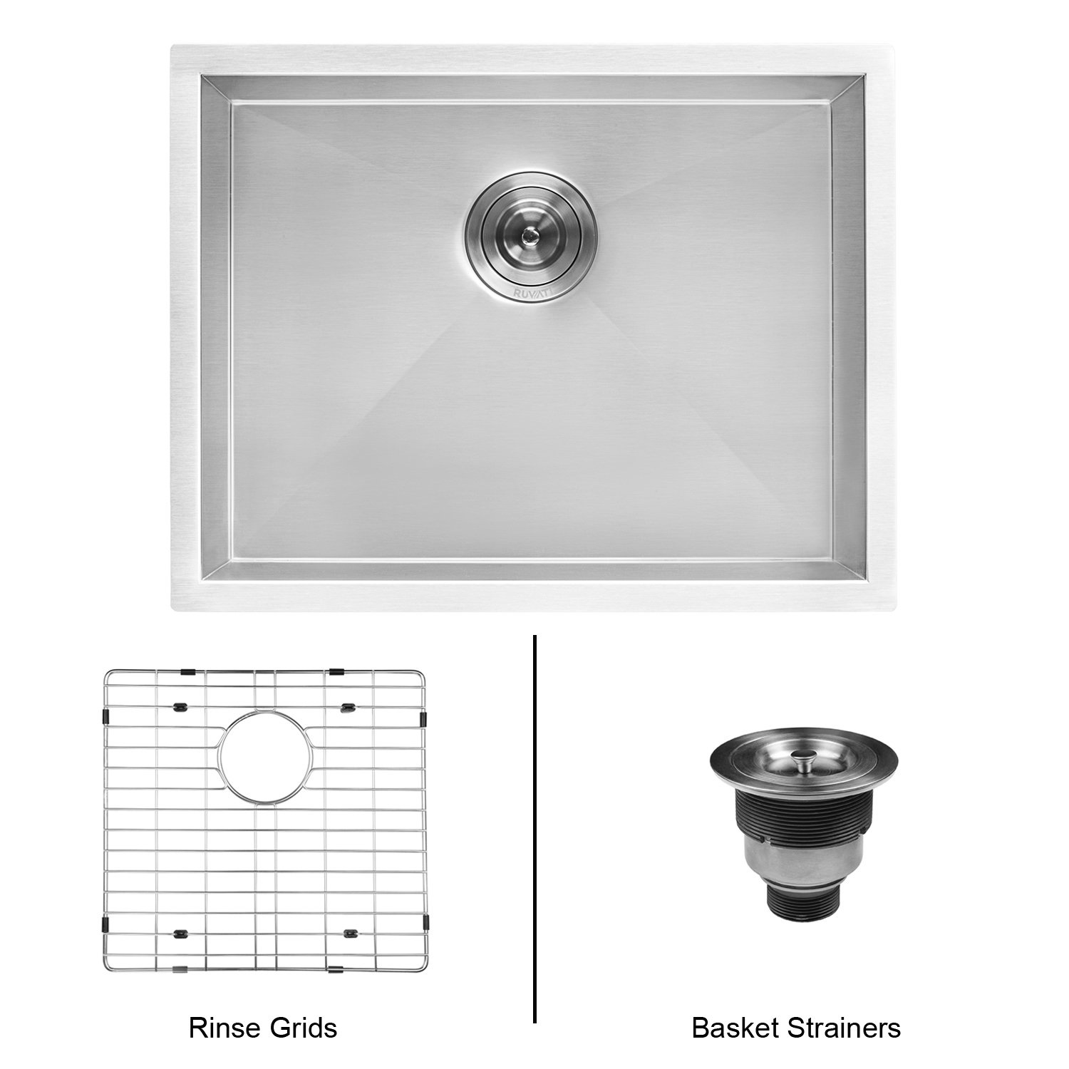 Ruvati 23'' x 18'' x 12'' Deep Laundry Utility Sink Undermount 16 Gauge Stainless Steel - RVU6100 by Ruvati