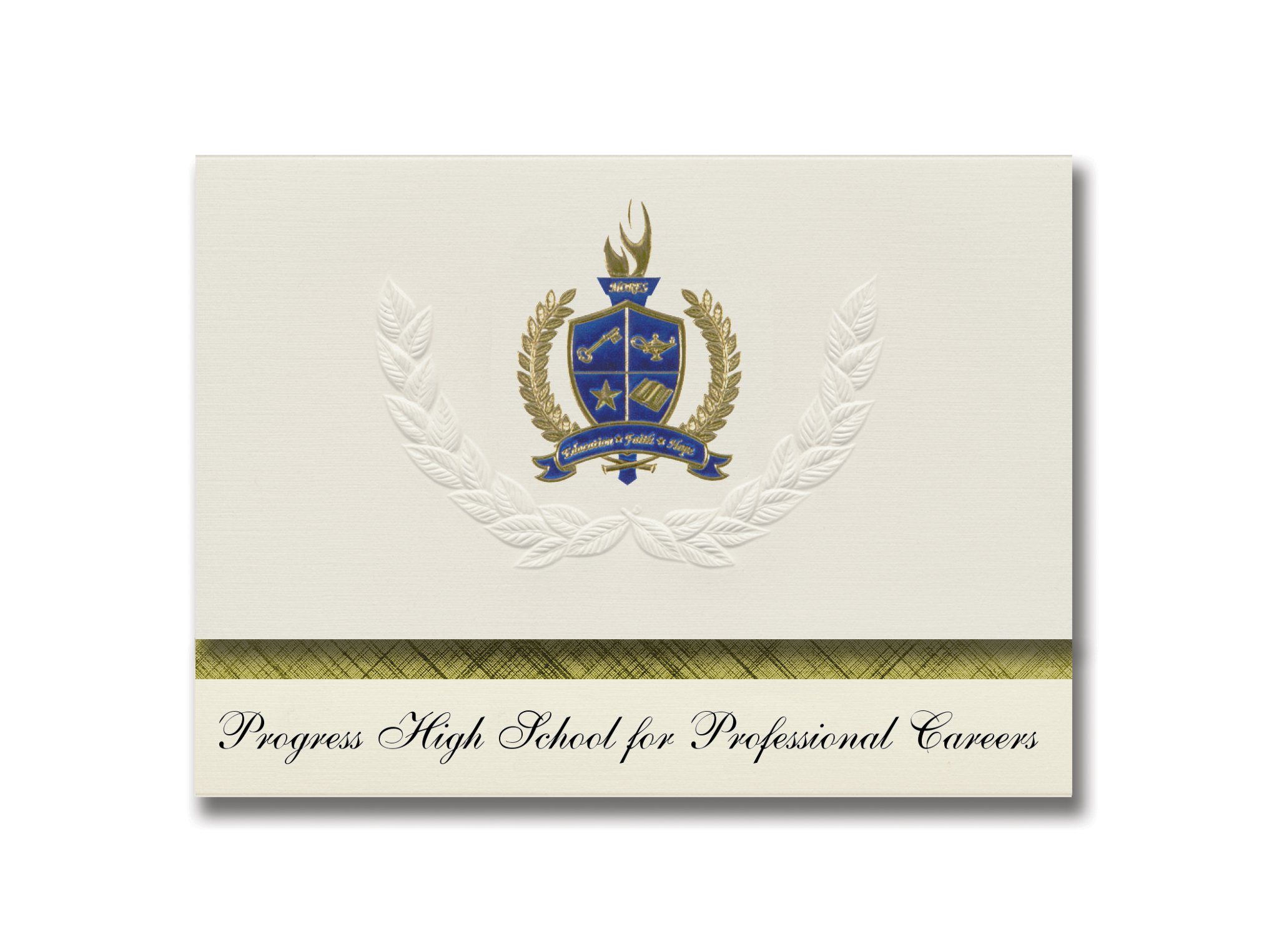 Signature Announcements Progress High School for Elite Careers (Brooklyn, NY) Graduation Announcements, Presidential Elite Pack 25 w/Gold & Blue Foil seal