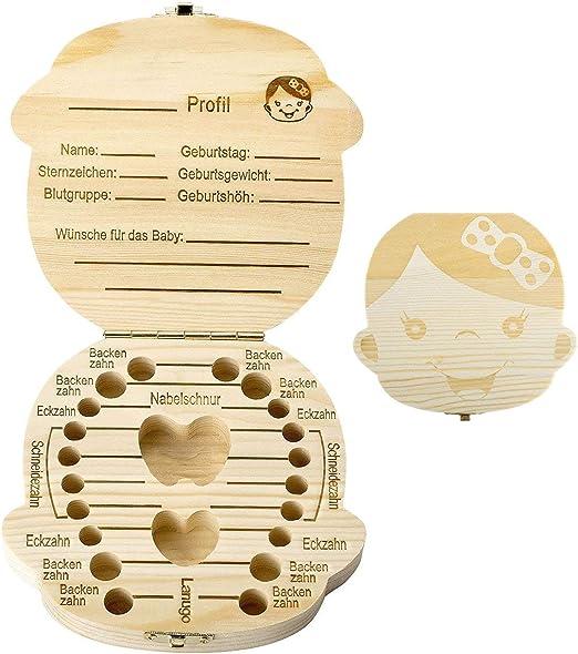 Wdoit - Caja para guardar dientes de leche, caja para guardar dientes de bebé, caja para souvenir, caja de regalo (versión alemana): Amazon.es: Hogar