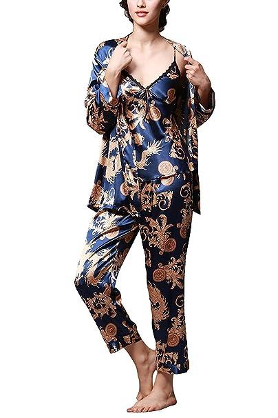TT Global 2018 Mujer Pijama Manga Larga 3-in-1 Mujer Camisones Satén Suave