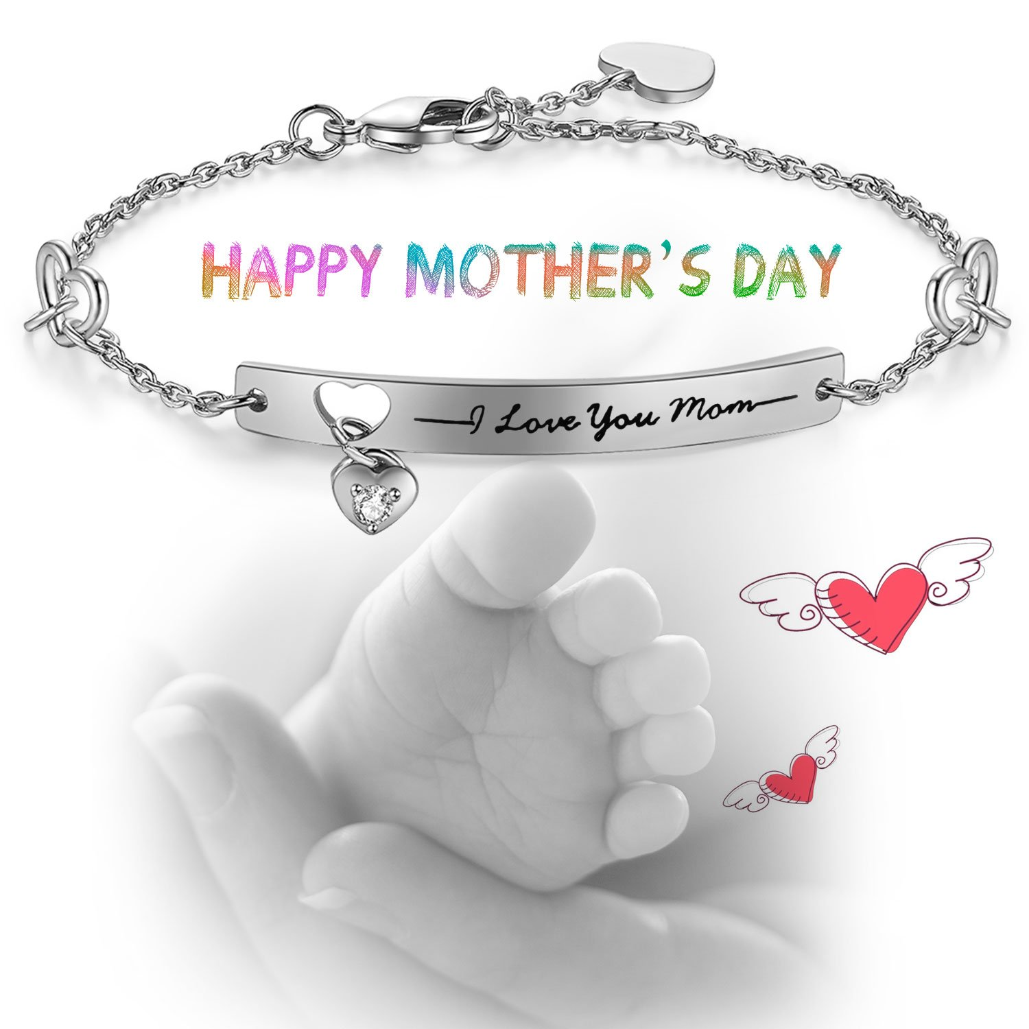 "NINAMAID ""I Love You Mom"" Engraved 925 Sterling Silver Bracelet Sparkling Cubic Zirconia Mother's Gift by NINAMAID (Image #3)"