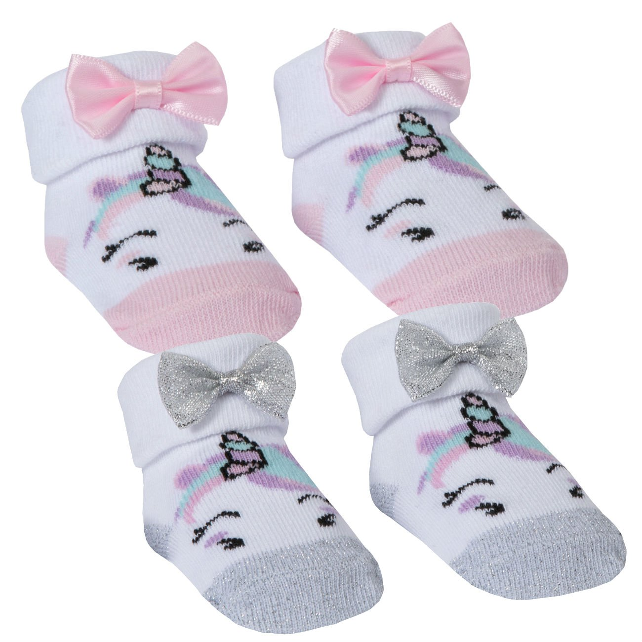 BABYTOWN Newborn Baby Girls Unicorn Socks - 2 Pair Multipack Gift Bag