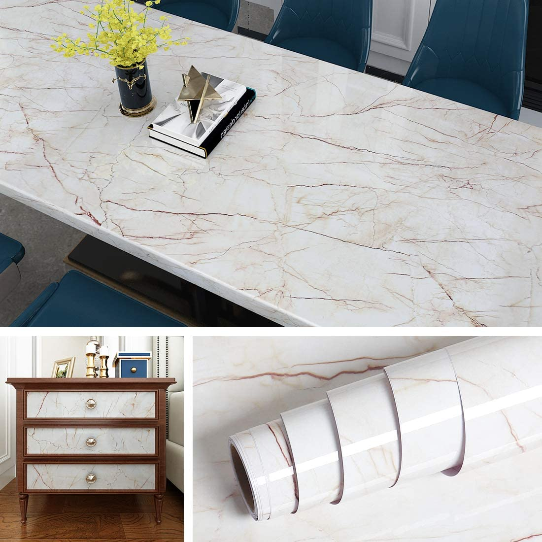 Livelynine Marble Contact Paper For Countertops Kitchen Countertop Peel And Stick Wallpaper For Bathroom Sink Shower Desk Cover Adhesive Paper For Furniture Waterproof Removable 15 8x78 8 Inch Amazon Com