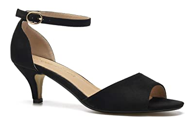 aeaeaedb0afb4 ComeShun Womens Pumps Shoes Ankle Strap Peep Toe Dress Pumps Dress Bridal  Party Stilettos Low Kitten Heels