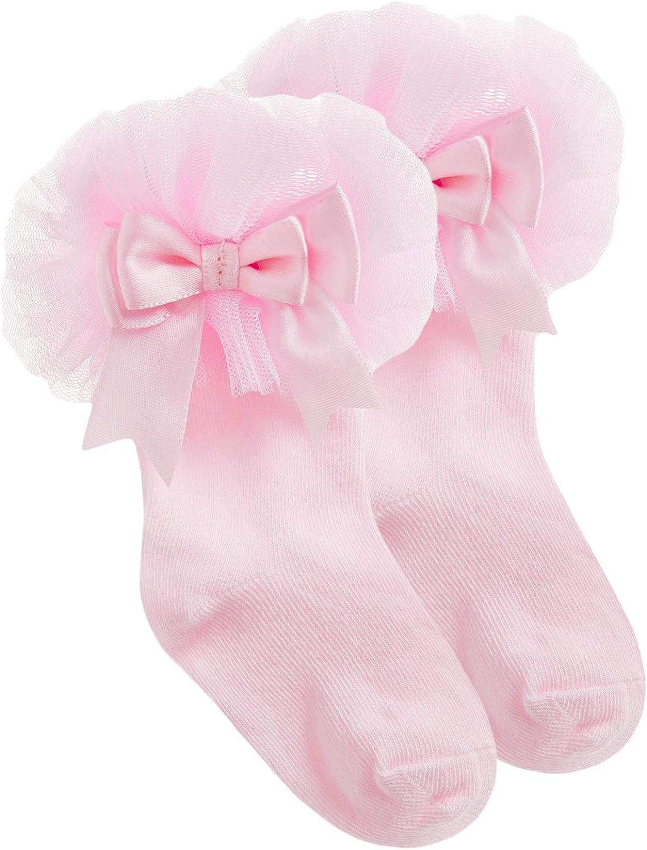 JollyRascals Girls Lace Socks Baby Girls New Bow Frilly Christening Socks White Pink Kids Spanish Lace Ankle Socks UK 0-0 0-2.5 3-5.5
