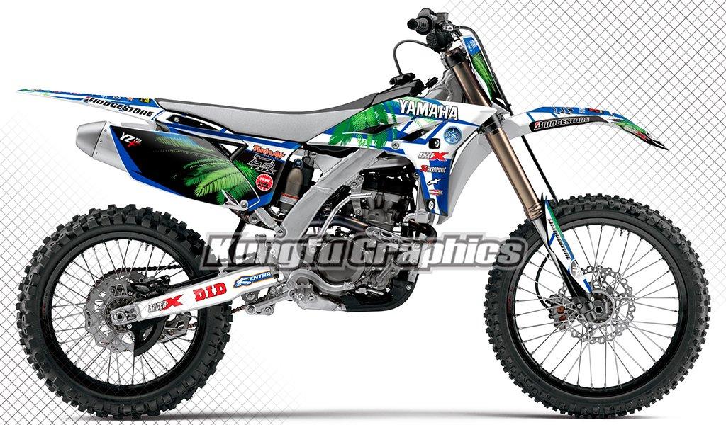 Kungfu Graphics Hawaii Custom Decal Kit for Yamaha YZ250F YZF250 2010 2011 2012 2013, Black White Blue Green