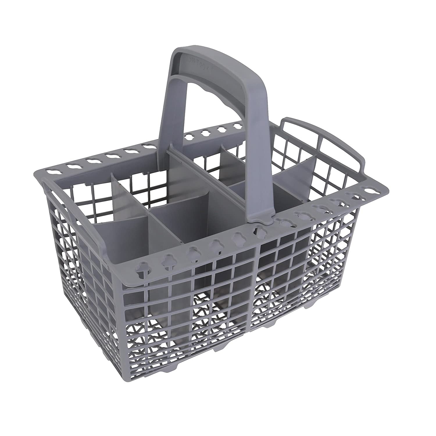 "Qualtex Grey Dishwasher Cutlery Silverware Basket For Kenmore Whirpool Bosch Maytag KitchenAid Maytag Samsung AMANS GE 9"" Long x 5"" Wide With Spoon Holder"