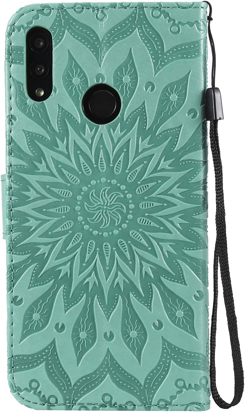 Herbests Compatible with Huawei P Smart 2019 Wallet Case Emboss Sunflower Folio Flip Leather Cover with Card Slots /& Kickstand Full Body Protective Cover Wrist Strap Magnetic Closure,Green