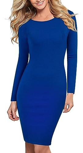 HOMEYEE Women's Long Sleeve Bodycon Blue Casual Wear to Work Dress 758
