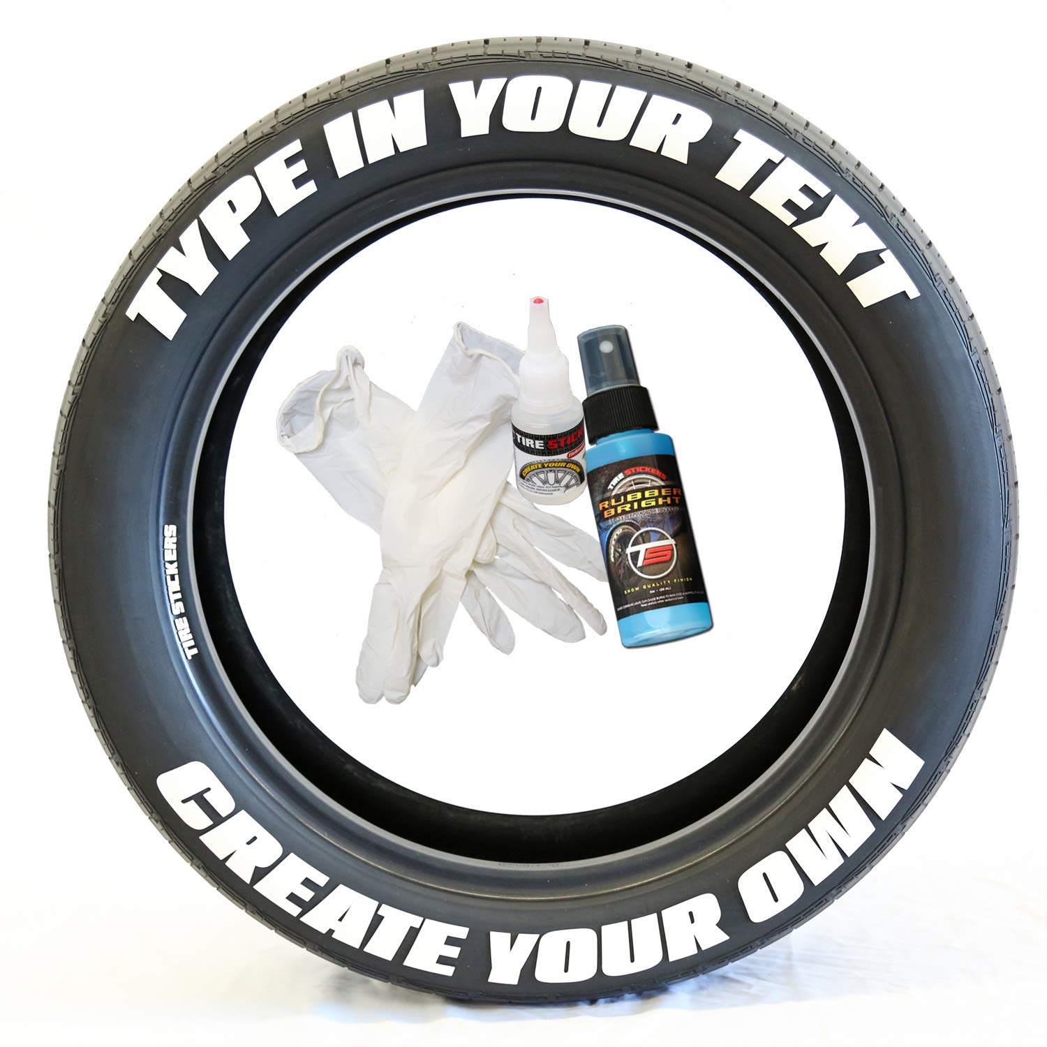 Tire stickers create your own custom tire lettering add on accessory diy easy glue 2oz touch up cleaner custom sizing white pack of 8