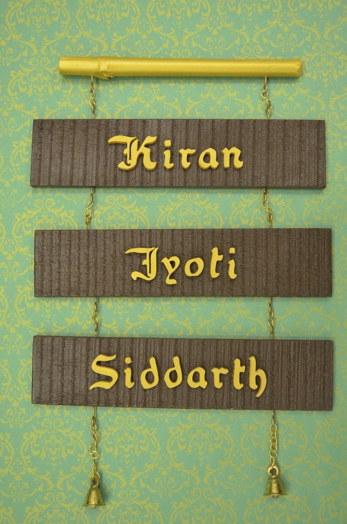 Karigaari India Designed Sleeper Wood Bamboo Name Plate