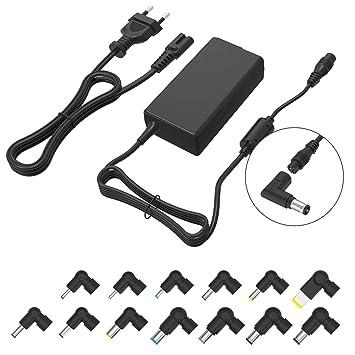 Purpleleaf Cargador de portátil Universal Slim Adaptador de CA portátil de 70 vatios Cable de alimentación de Punta múltiple Compatible con DELL HP ...