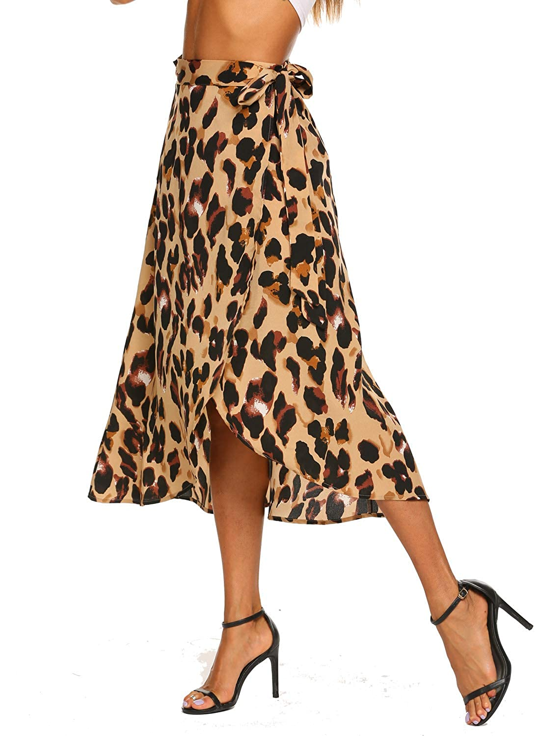 f86e52e2ce99 Newchoice Women's Boho Leopard Skirt High Low Split Summer Beach Midi Wrap  Skirts at Amazon Women's Clothing store: