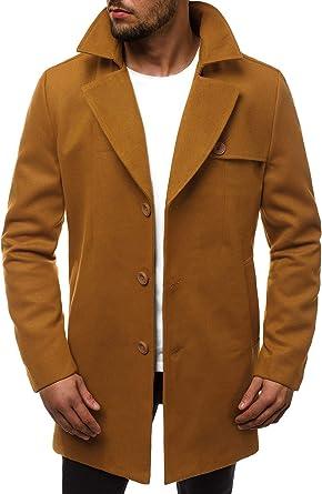OZONEE Herren Mantel Wintermantel Trenchcoat Jacke Übergangsjacke Coat Winter Herbst Lang Warm Stehkragen Reverskragen Elegant Klassischer Outdoor