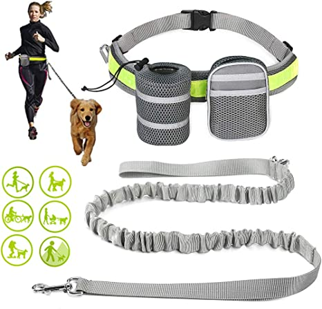 Hands Free Elastic Bungee Dog Leash Running Walking Hiking Adjustable Waist Belt