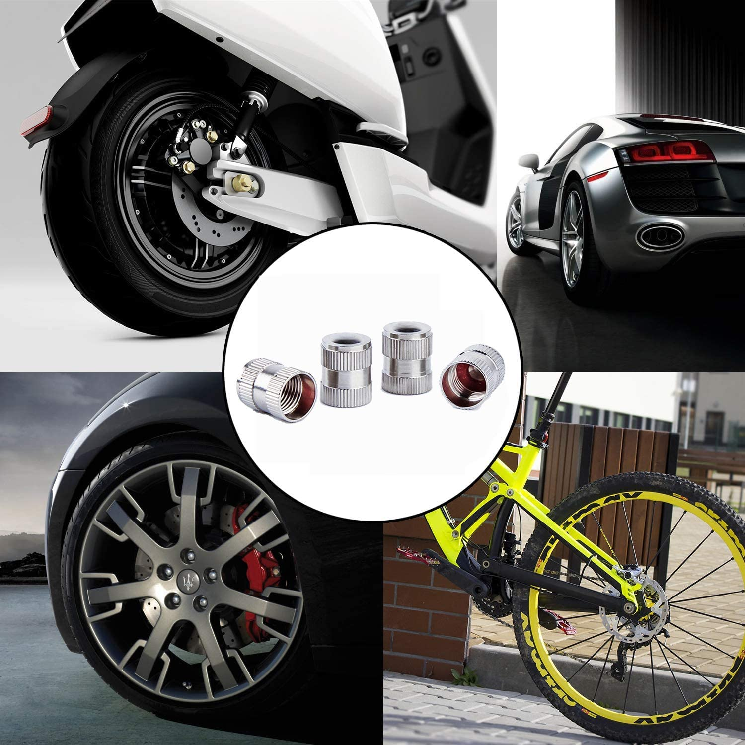 Trucks DXIA 8 Pieces Tyre Valve Caps Tire Stem Valve Caps Metal Tyre Valve Dust Caps SUVs Universal Valve Stem Caps with Seal Ring Stem Tire Covers for Cars Motorcycles Bike and Bicycle