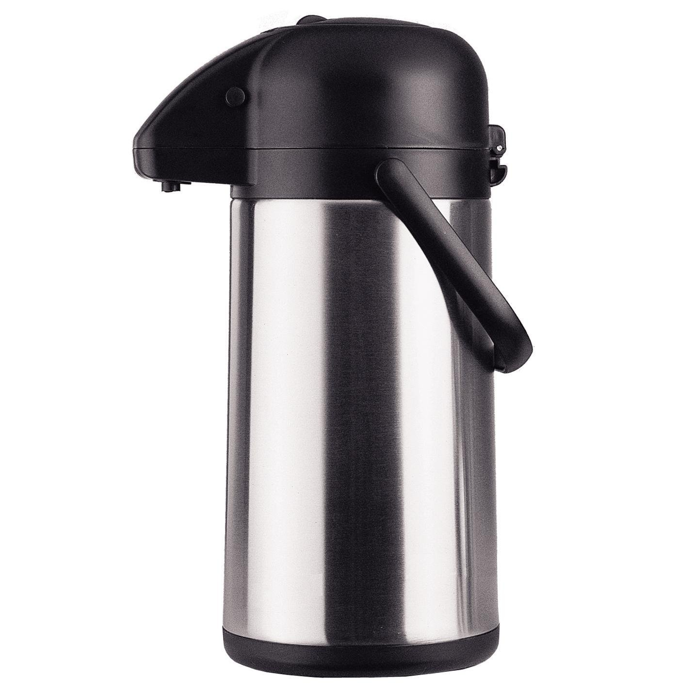 Chef's Supreme - 3 L Black Stainless Airpot w/ Pump Lid