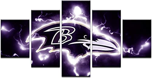 HAOSHUNDA Baltimore Ravens Logo Wall Decor Art Paintings5 Panel Canvas Print Wall Art HD Prints Sports Fan Pictures Gallery Wrapped Framed 16x24x2,16x32inx2,16x40inx1