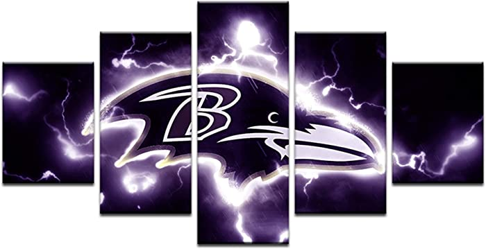 HAOSHUNDA Baltimore Ravens Logo Wall Decor Art Paintings5 Panel Canvas Print Wall Art HD Prints Sports Fan Pictures Gallery Wrapped(Framed) (8x14x2,8x18inx2,8x22inx1, Gallery Wrapped(Framed) 2