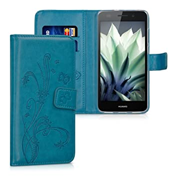 kwmobile Funda para Huawei Y6 II - Carcasa de [Cuero sintético] con diseño de Flores y Mariposas - Case con [Tarjetero]